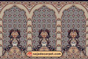 سجاده محرابدار کاشان - سجاده فرش طرح پانیذ رنگ سرمه ای
