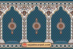 سجاده فرش طرح گلزار رنگ آبی کاربنی