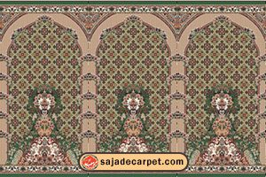 سجاده محرابدار کاشان - سجاده فرش طرح پانیذ با رنگ سبز