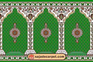 سجاده فرش طرح گلزار رنگ سبز