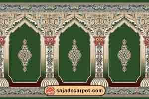 فرش سجاده ، سجاده فرش محرابی ، طرح رضوان با رنگ سبز