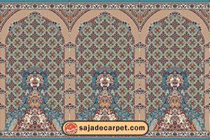 سجاده محرابدار کاشان - سجاده فرش طرح پانیذ با رنگ آبی