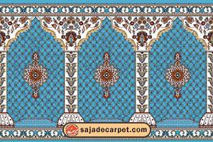 سجاده فرش طرح گلزار رنگ آبی