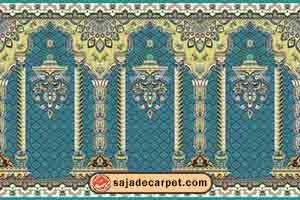 فرش محرابی طرح شکور رنگ آبی