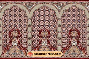 سجاده محرابدار کاشان - سجاده فرش طرح پانیذ با رنگ لاکی