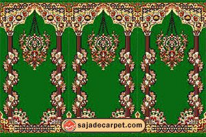 islamic carpet for mosque; prayer rugs for mosque; masjid rugs with Khojasteh Design - green carpet